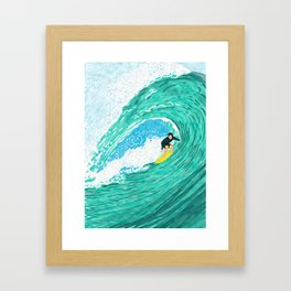 Big wave surfer Framed Art Print