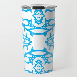 Stalagmite - Tiling Symmetrical Abstract in Blue and White Travel Mug
