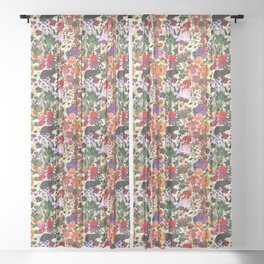 Vintage Butterfly Rabbit Garden Floral Watercolor Sheer Curtain