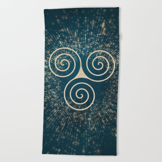 Triskelion Golden Three Spiral Celtic Symbol Beach Towel