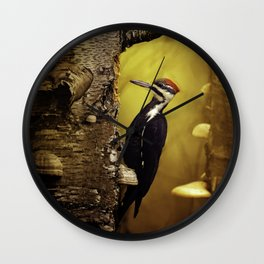 Pileated Woodpecker Forest Sunrise Wall Clock