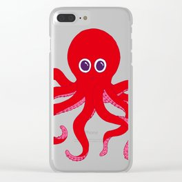 Octopus (Red) Clear iPhone Case