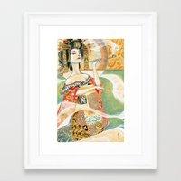 klimt Framed Art Prints featuring Klimt Oiran by Sara Richard