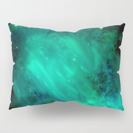 Teal Blue Indigo Sky, Stars, Space, Universe, Photography Pillow Sham