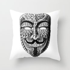 Ornate Anonymous Mask Throw Pillow