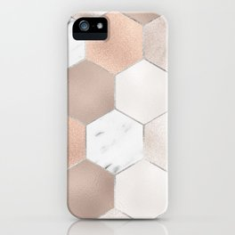 Rose pearl and marble hexagons iPhone Case
