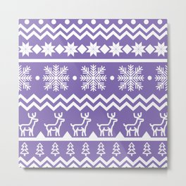 Classic Christmas sweater pattern with deers, pine trees and snowflakes in purple and white Metal Print
