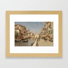 Martín Rico Ortega,  San Lorenzo River with the Campanile of San Giorgio dei greci, Venice c. 1900 Framed Art Print