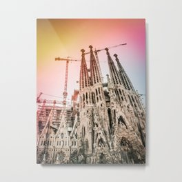 Rainbow Sky Vintage Sagrada Familia in Barcelona Spain Metal Print