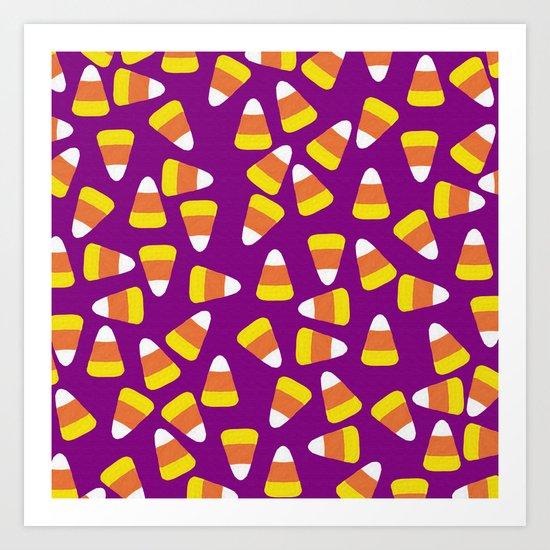 Candy Corn Jumble (purple background) Art Print
