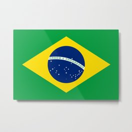 Flag of Brazil - Hi Quality Authentic version Metal Print