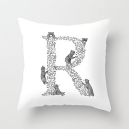 Bearfabet Letter R Throw Pillow