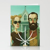 gothic Stationery Cards featuring American Gothic High by Steve Simpson