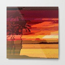 Tropical Glitchset Metal Print