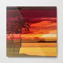 Tropical Glitchset Metal Print