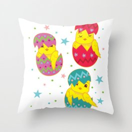 Three Cute Easter Chicks Eggs design Throw Pillow