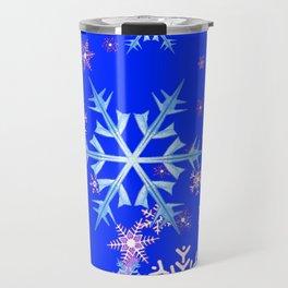 DECORATIVE BLUE  & WHITE SNOWFLAKES PATTERNED ART Travel Mug