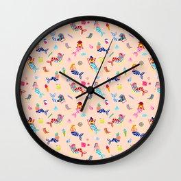 Seaside Mermaids - Peach Wall Clock