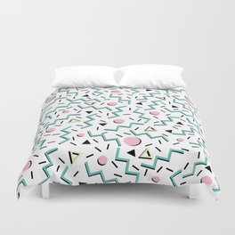 Back to the 80's eighties, funky memphis pattern design Duvet Cover
