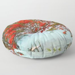 Wasting Away in Margaritaville - Key West, Straits of Florida landscape painting with Royal Poinciana blossoms Floor Pillow