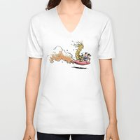 calvin hobbes V-neck T-shirts featuring Let's Go Exploring! (Rocket Raccoon & Groot & Calvin & Hobbes mashup) by Adifitri