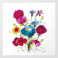 Summer Flowers from My Journel Art Print