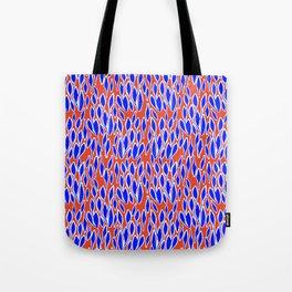 leaves pattern blue orange Tote Bag