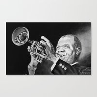 louis armstrong Canvas Prints featuring Louis Armstrong by Nathalief87