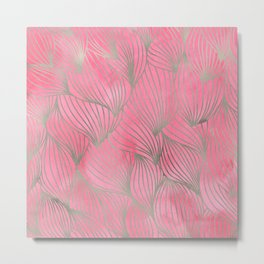 Pretty Pink Palm Petal Print Metal Print