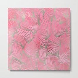 Pretty Pink Palm Petal Print Metal Print