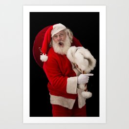 Santa Claus excited and pointing Art Print