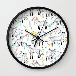 Fox Floral Wall Clock