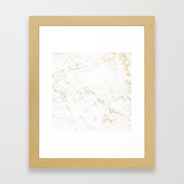 White Marble with Delicate Gold Veins Framed Art Print