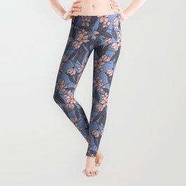 Sakura Branch Pattern - Rose Quartz + Serenity Leggings