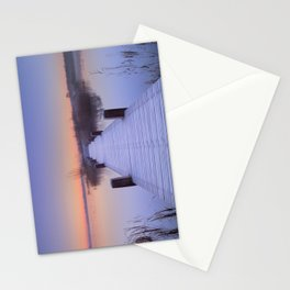 Boardwalk on a lake at dawn in winter, The Netherlands Stationery Cards