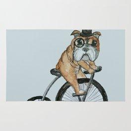 English Bulldog Riding a Penny-farthing Rug