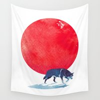 fear Wall Tapestries featuring Fear the red by Robert Farkas