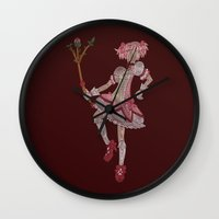 madoka Wall Clocks featuring Madoka Kaname (color) by Matt Wydick