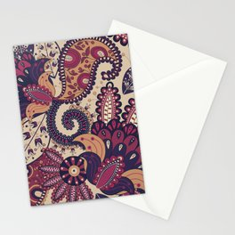 Maroon Boho Paisley & Floral Pattern Stationery Cards