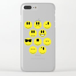 Yellow Face Emotions Clear iPhone Case