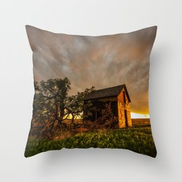 Basking in the Glow - Old Barn In Warm Sunlight in Oklahoma Throw Pillow