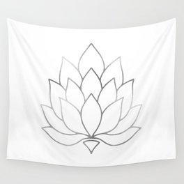 Silver Foil Lotus Flower Wall Tapestry