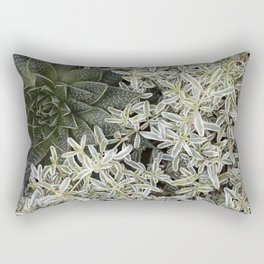 Silver Succulents Rectangular Pillow