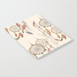 Bohemian dream catcher with beads and feathers Notebook