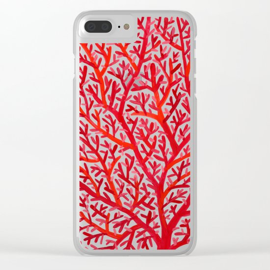 Red Fan Coral Clear iPhone Case