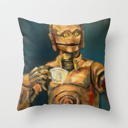 Robot coffee break Throw Pillow