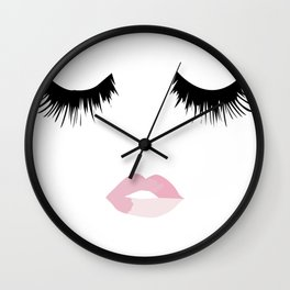 Eyelash Lip Print Wall Clock