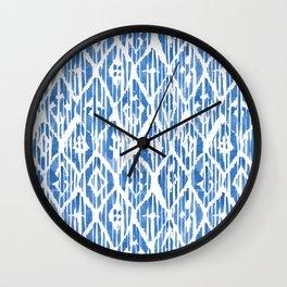 Indigo Ikat Pattern Wall Clock