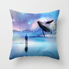 Walking with Whales Throw Pillow
