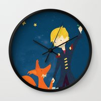 le petit prince Wall Clocks featuring Le petit prince by LaFilleCoquette